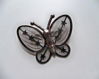 Sale - VINTAGE SILVER BUTTERFLY Mesh Brooch/Silver Brooch/Butterfly Brooch/Vintage Brooch