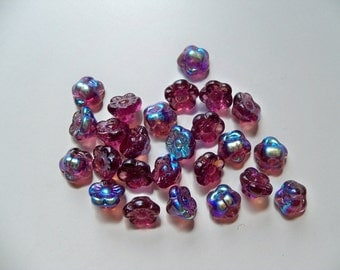 Sale - Czech Glass TANZANITE Flower Beads/AB Finish Beads/Tanzanite Beads/Czech Flower Beads/AB Beads