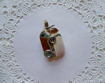 Sale - JASPER CABACHON WIRE Wrapped Pendant/Jasper Pendant/Wire Wrapped Pendant/Jasper Rectangular Pendant/