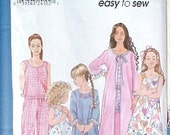 Nightgown PJs  Pattern Girl Childs size 3,4,5,6 Simplicity 9292