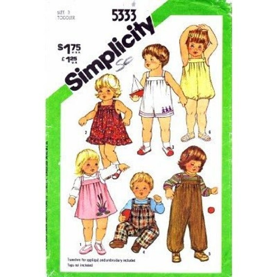 Simplicity No. 8217 Sewing Pattern - Toddlers Overalls, Sundress's