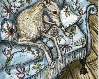 A Little Lady-La - Lurcher Hound Dog Print