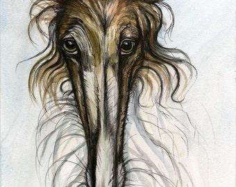 Borzoi- Borzoi Dog Hound Print - 5 x 7 inch