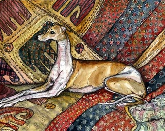 Kissy - Italian Greyhound Dog Print