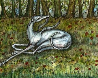 A Little Guardian Angel - Greyhound Art Dog Print