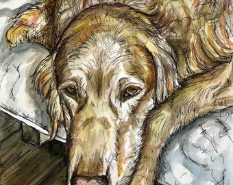 What a day - Golden Retriever Dog Art Print
