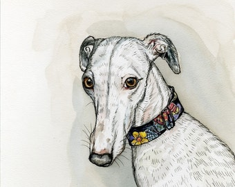 Madame Butterfly - Whippet Dog Print 5 x 7 inch