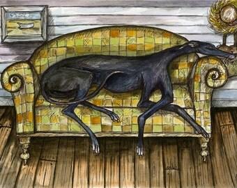 A Little Wondering - Greyhound Dog Print