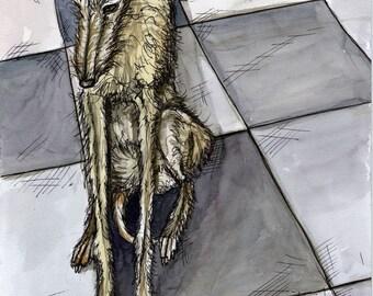 A Little in Trouble -Lurcher Hound Dog Art Print