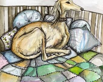 A Little Comfortable - Saluki Art Dog Print
