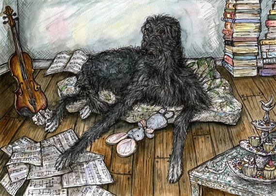 Deerhound Art Dog Print