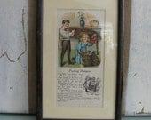 Sweet Framed Antique Book Page Children, Doll