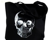 Skull Tote Bag - Anatomical Skull Illustration on a Black Bag