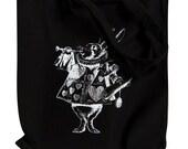 Alice in Wonderland - The White Rabbit on a Black Tote Bag
