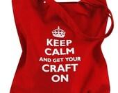 Keep Calm Craft Parody Red Tote bag