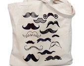 Canvas Tote Bag - Mustache Collection Print on a Natural Canvas Bag