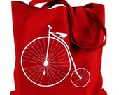 Vintage Bike Penny Farthing Red Tote Bag