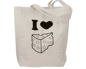 Canvas Tote Bag - I Love Cheese print on a Natural Canvas Tote Bag