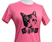 CAT T-Shirt - MEOW Kitty Cat Ladies Shirt - (Available in sizes S, M, L, XL)