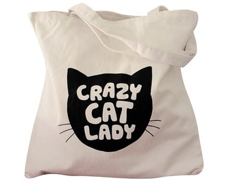 Canvas Tote Bag - Crazy Cat Lady print on Natural Canvas Tote Bag