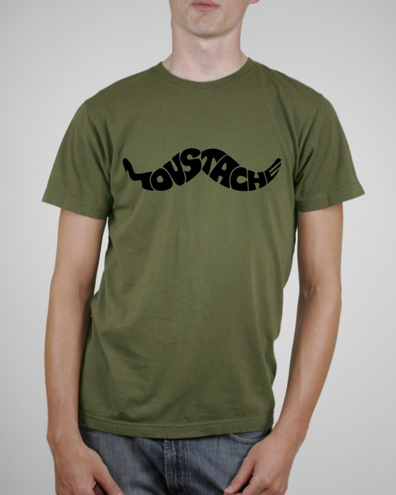 Awesome Moustache Print on  Men's Khaki Green T-shirt - (Available in sizes S, M, L, XL)