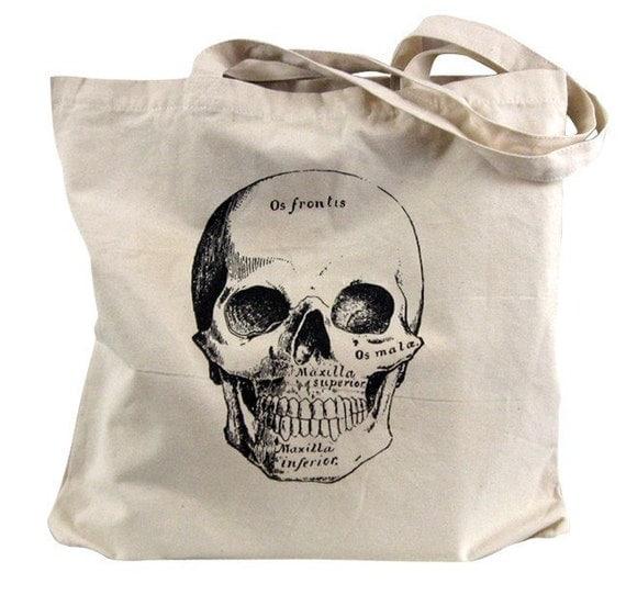 Canvas Tote  Bag - Anatomical Skull Tote Bag