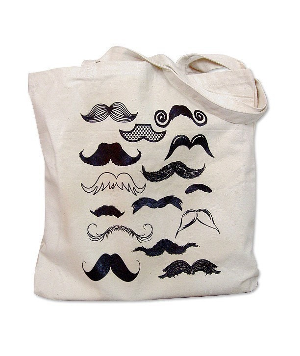 Canvas Tote Bag Mustache Collection Print on a Natural