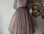 50s Dress / 1950s Party Dress / Vintage 1950s Black and White Sheer Chiffon Gingham Dress Size XS