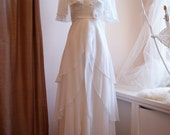 Wedding Dress / 1970s White Diaphanous Chiffon Wedding Gown with Cape Collar Size S