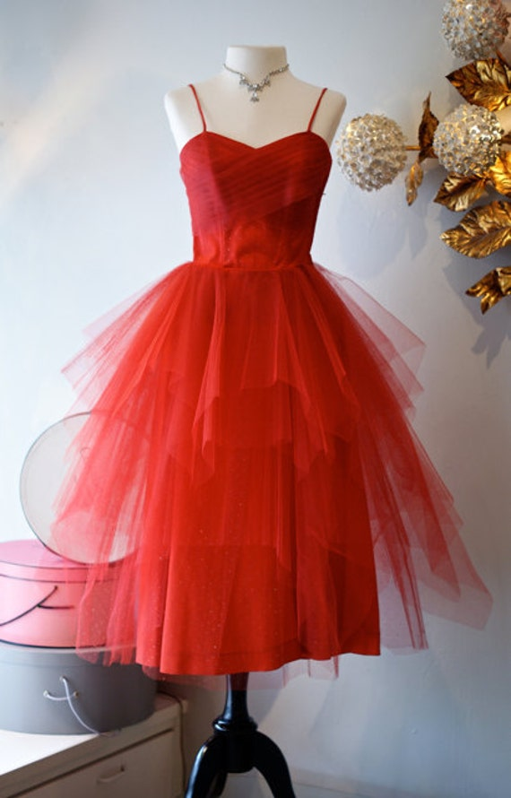 Vintage 1950s Red HOT Emma Domb Prom Party Dress