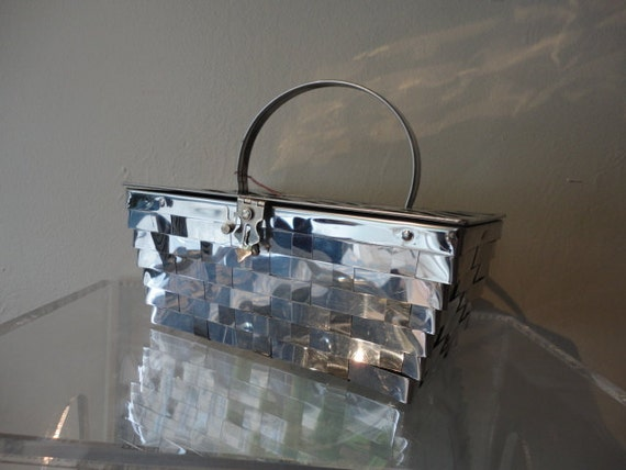 50s Purse / 1950s Metallic Basket Purse Goldstrom Fifth Ave