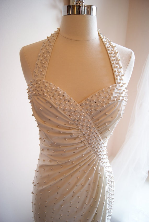 Reserved/Wedding Dress / Vintage 1970s Designer White Wedding Gown Halter Neck with pearls and sequins by Robert David Morton Size S
