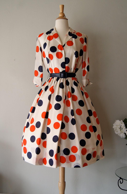 Fabulous 1950 S Silk Polka Dot Print Dress By Miss Brooks