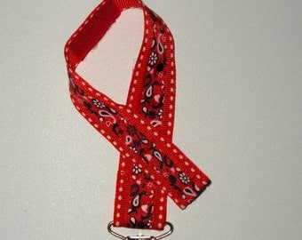 Red WESTERN BANDANA PACIFIER Holder - for your Little Cowboy or Cowgirl - Baby Shower Gift. Universal, Soothie, Mam, Avent, Gumdrop or Nuk