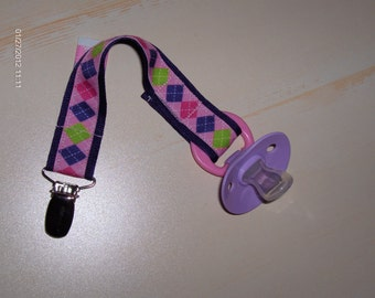 Girl's PACIFIER Holder. Purple Argyle with Polka Dots Design. Great Baby Shower or Newborn Gift. Preppy Baby.