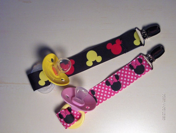Minnie Mouse And Mickey Mouse Girl Or Boy Pacifier Holders