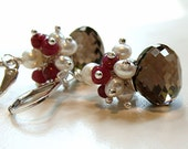 Listing for Pam - Neapolitan Earrings - chocolate quartz, vanilla pearls and strawberry rubies