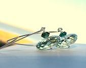 Astronavi Verdi Earrings - green amethyst and green quartz