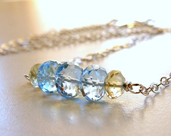 Swiss Blue and Lemon Yellow Topaz Swing Choker Necklace - Argentium Sterling Silver
