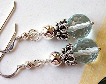 Aqua blue quartz crystal ball earrings