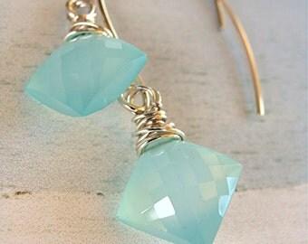 Aqua Blue Diamond Chalcedony Earrings