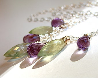 Prehnite and Amethyst Gemstone Necklace - argentium sterling silver chain and clasp