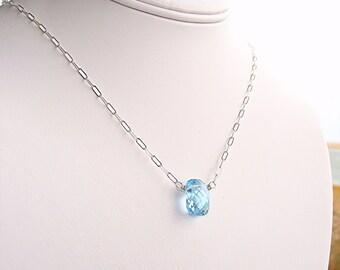 Blue Topaz Solitaire Briolette Necklace - Argentium Sterling Silver Chain