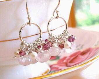 Romantic Pink Paradise Earrings - Rose quartz, freshwater pearls, mystic pink quartz and fine silver