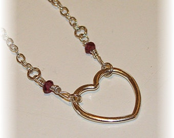 Sweet Heart Necklace - Sterling Silver Heart with Garnets
