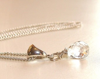 Sparkling White Topaz Teardrop Briolette Necklace - Argentium Sterling Silver Chain, Bail and lobster claw clasp
