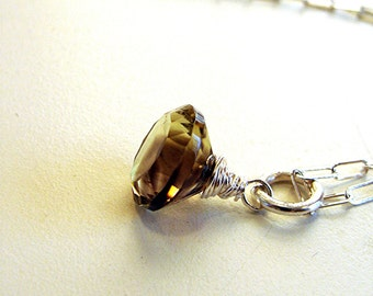 Chocolate Kiss - Beer Quartz brilliant cut round Solitaire Necklace - argentium sterling silver chain