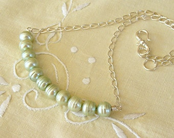 Green Pearl Trapeze Swing Necklace - freshwater pearls and argentium sterling silver chain