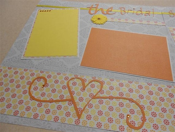 Two 12 x 12 Premade Scrapbook Pages Layout - Bridal Shower - Wedding