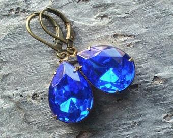 Sapphire earrings, blue vintage glass jewel, royal blue earrings, something blue, estate style earrings, bridal earrings, holiday gift ideas